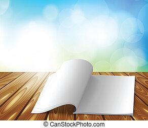 magazine, sur, table bois