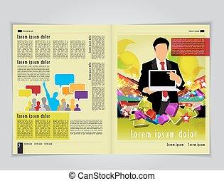 magazine., vetorial, editable, esquema