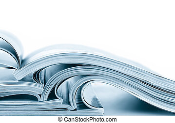 Stack of magazines, in blue duotone.