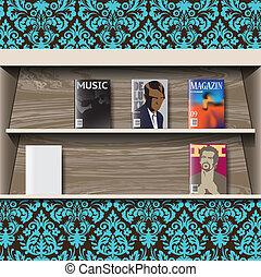 magazines, vecteur, stand, ligne
