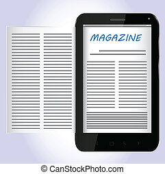 magazyn, na, czarnoskóry, smartphone