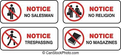 magazyny, zakon, staranie się, trepassing, znak, nie