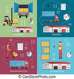 magazzino, amministrazione, concetto, disegno, appartamento
