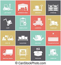 magazzino, appartamento, icone
