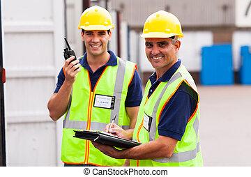 magazzino, collega, anziano, lavoratore