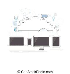 magazzino, computer, magro, congegno, sicurezza, dati, linea, nuvola