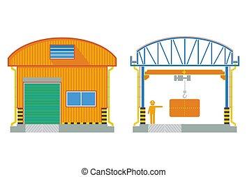 magazzino, costruzione, sezione trasversale, fabbrica, illustrazione