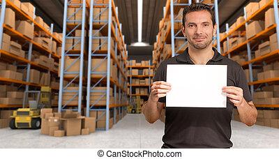 magazzino, distribuzione, messaggio