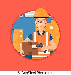 magazzino, lavoratore, scansione, barcode, su, box.