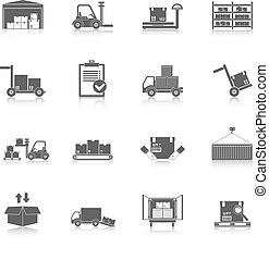 magazzino, nero, icone