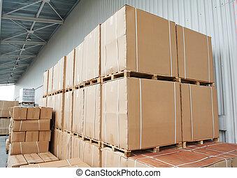 magazzino, scatole, cartone, disposizione, fuori