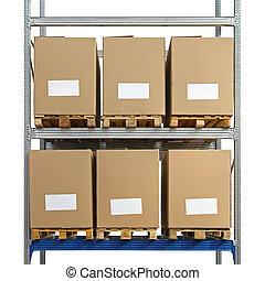 magazzino, scatole, scaffalatura