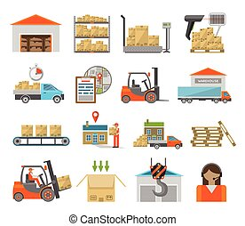 magazzino, set, trasporto