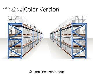 magazzino, shelves.