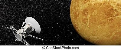 Magellan spacecraft near Venus planet - 3D render - Magellan...
