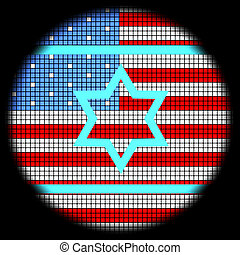 Magen David Icon on American Flag Checkered Background