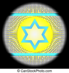 Magen David Icon on Checkered Background