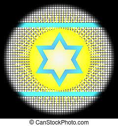 Magen David Icon on Checkered Background