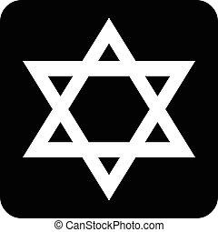 Magen David symbol button on white background. Vector...