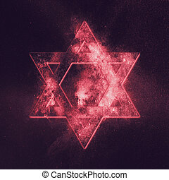 Magen David symbol, Star of David. Abstract night sky...