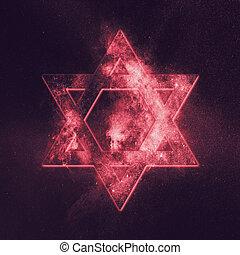 Magen David symbol, Star of David. Abstract night sky...