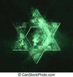 Magen David symbol, Star of David. Green symbol