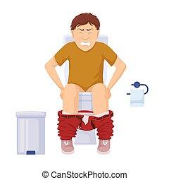 magen, probleme, verstopfung, hemorrhoids., toilette, ausübung, schmerz, sitzt, toilet., mann, gereizt, zeichen, grimasse