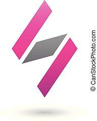 Magenta and Black Diamond Shaped Letter S Vector Illustration