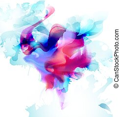 Magenta and blue colorful blot spread to the light background. Abstract vector composition for the bright design.