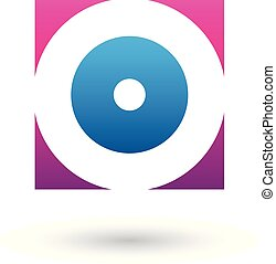 Magenta and Blue Square Icon of a Thick Letter O Vector Illustration
