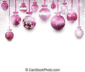 magenta, bakgrund, båge, jul, balls.