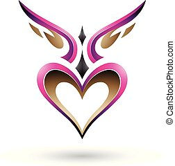 Magenta Bird Like Winged Heart with a Shadow Vector Illustration