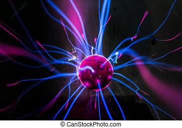 magenta-blue, nero, palla plasma, fiamme, isolato, fondo.