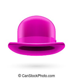 Magenta bowler hat - Magenta round traditional hat with...