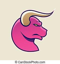 Magenta Cartoon Bull Icon Vector Illustration