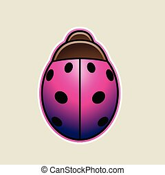 Magenta Cartoon Ladybug Icon Vector Illustration