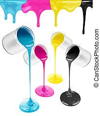 magenta, cyan, gula och svarta, flytande, målar, isolerat