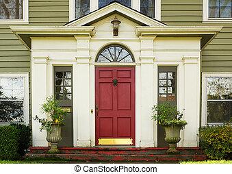 magenta, dörr, planterar