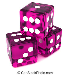 Magenta Dice - 3D Magenta rolling dice on white background