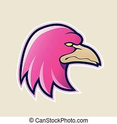 Magenta Eagle Head Cartoon Icon Vector Illustration