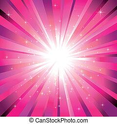 magenta, explosión de la luz, con, brillante, estrellas