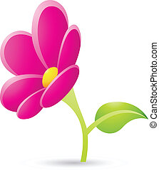 magenta, fleur, icône