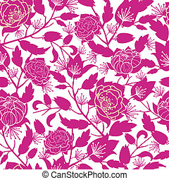 Magenta floral silhouettes seamless pattern background -...