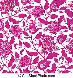 magenta, floral, silhuetas, seamless, padrão, fundo