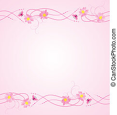 magenta flowers, butterflies and flowers border background