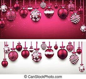 magenta, fundo, arco, natal, balls.