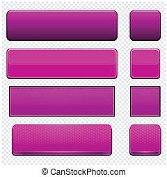 Magenta high-detailed modern web buttons. - Set of blank...