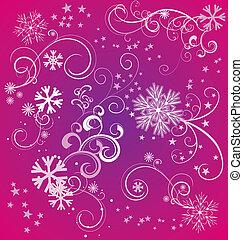 magenta, hiver, fond, Flocons neige