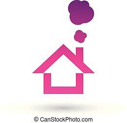 Magenta House and Smoke Icon Vector Illustration