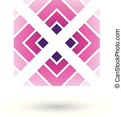 Magenta Letter X Icon with Square and Triangles Vector Illustration